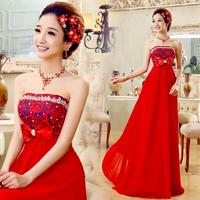 High waist formal dress married 2013 of luxury lace tube top evening dress red bride design long dress lf301
