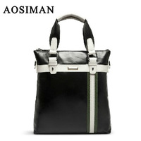 Aosiman man bag genuine leather man bag british style commercial shoulder bag male boutique handbag