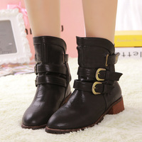 Autumn and winter fashion vintage classic jeans buckle foot wrapping flat motorcycle boots