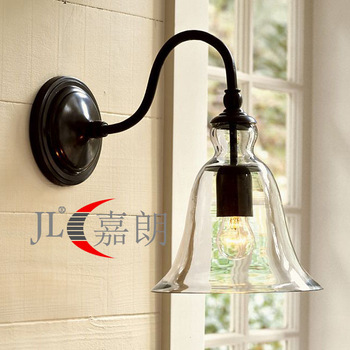American style wall lamp fashion iron bedside lamp wall lamp vintage bedroom lights glass antique wall lamp