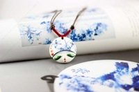 Blue and white peony ceramic doll pendant personalized facebook accessories original place of production