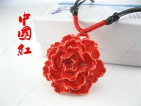 Red rich red glaze ceramic flower pendant necklace national trend accessories