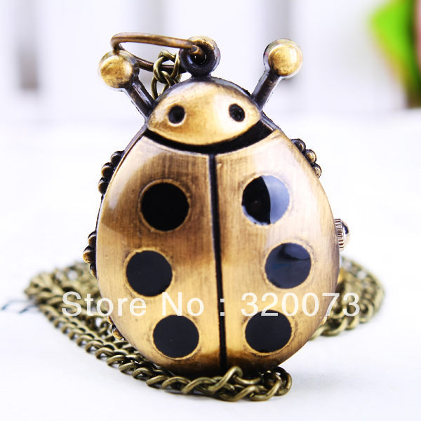 Retro Vintage Necklace Watch Pendant kids ladybug pocket watch with chain 12pcs(China (Mainland))