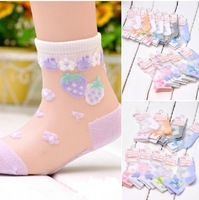 Free shipping Child summer socks grownup silk socks crystal socks box double 12 blended-color socks