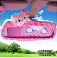 Free shipping, 1pcs retail, 2014 hot sale hello kitty pink car rearview mirror cover/ Car interior accessory, Factory store