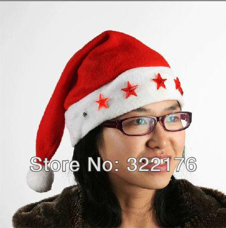 [ Life Art ] 20pcs/lot Christmas ornaments decorate gift bag Santa Claus hat Christmas hats LED electronic lamp child star cap(China (Mainland))
