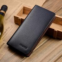 Male wallet long design cowhide genuine leather zipper wallet long design card holder purse
