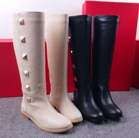 New arrivals free shipping Womens brand real leather black beige color flat rivet studded knee leather boot val shoe