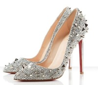 Rhinestone Rivet pointed nightclub sexy high heel shoes, women's singles