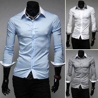 2013 autumn new men's fashion casual long-sleeved dress shirt casual style cotton shirt M-XXL