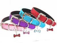 free shipping 20pcs /lot 4 color dog collars with fashion dog bone  collar pet collar
