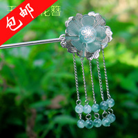 National trend vintage hair accessory classical hair stick jade flower hairpin hair maker hair accessory tassel costume