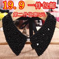 Vintage pearl false collar collar women's crystal shirt black