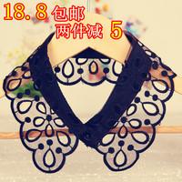 Summer women's lace false collar cutout flower black the collar white laciness collar