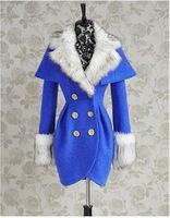 Large dolls 2013 navy blue paragraph cloak double breasted woolen overcoat pink