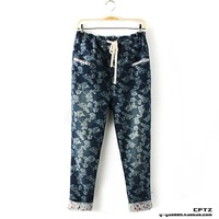 Peones print denim harem pants,pants women 2013