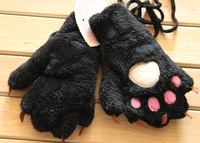 10pair/lot  2013 new plush bear claw gloves winter storm couple models warm gloves cartoon creative personality bear paw