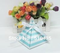 8*8*8cm  pyramid candy box . chocolate box. wedding box with ribbon