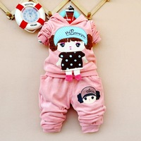 Children's clothing male female child 2013 spring and autumn cartoon girl long-sleeve velvet twinset