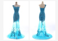 2013 Latest Fashion One Shoulder Mermaid Blue Tulle Floor-Length Evening Gown Party Dresses Prom Dresses