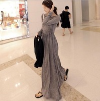 Free Shipping 2013  long sleeve maxi dress slim women's expansion bottom full maxi dress