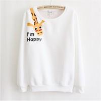 [Magic] Happy giraffe women's hoodies appliques cartton anima casual cotton sweatshrts fleece warm hoodie free shipping 3 color