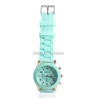 W7Tn Silicone Jelly Quartz Sports Wrist Watch Mint Green Unisex Stylish Precise
