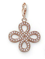 Free shipping!!! min order 8  u.s.d., new fasion style  rose-gold  single knot  with white cz  with clasp  charm