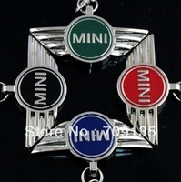 Free shipping 35pcs/lot MINI COOPER alloy key chain badge, 4s car store keychain gift