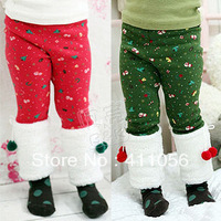 2013 winter girls clothing baby plus velvet thickening long trousers Christmas pants