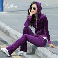 2013 spring and autumn velvet sports set, gold velvet casual wear sweatshirt female, Hot sale,