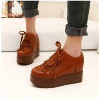 2013 spring and autumn platform elevator women's shoes casual shoes flat boots tassel boots