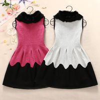 2013 autumn women's elegant rabbit fur woolen patchwork vest one-piece dress
