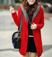 Free shipping 2013 medium-long plus velvet thickening slim with  hood, women's cardigan knitted outerwear