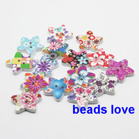 Free Shipping 100 Pcs Random Mixed 2 Holes Star Wood Sewing Buttons Scrapbooking 17mm(W02251)