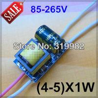 20pcs/lot, 4-5X1W led driver, 85-265V input 4*1W 5*1W LED inside driver, 4W 5W high power led lamp power supply, free shipping