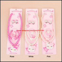 Wholesale Acrylic Pearl Baby Jewelry Sets,Hello Kitty Necklace Bracelet Ring Kids Jewellery Sets, 3 Colors Options x20sets