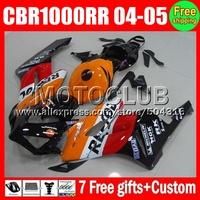 Red black 7gifts+TankFor HONDA Injection CBR1000 RR 04-05 #7998 Repsol Orange  CBR 1000 CBR1000RR 1000RR 04 05 2004 2005 Fairing