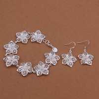 Wholesale Sterling 925 Silver Jewelry Set,925 Silver Fashion Jewelry,Flower Bracelet+Earring Set SMTS453