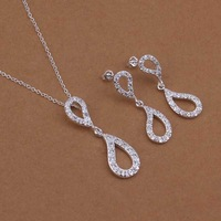 Wholesale Sterling 925 Silver Jewelry Set,925 Silver Fashion Jewelry,Inlaid Stone Drop Necklace+Earring Two Piece Set SMTS422