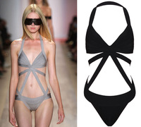 Free Shipping 2013 HL Black/ Grey Sexy Bandage Swimwear Fashion Bikini  HL907