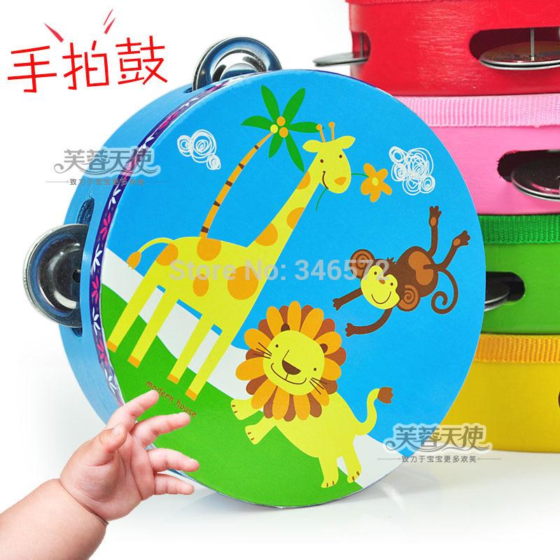Cartoon hand drum rattles, tambourine darnings multicolour hand drum tambourine infant wooden toys 0.1(China (Mainland))