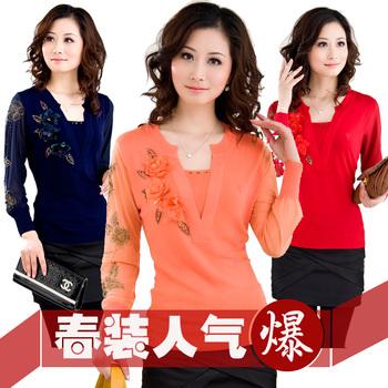 2013 spring new arrival HENG YUAN XIANG women's slim chiffon mother clothing wool yarn t shirt women's