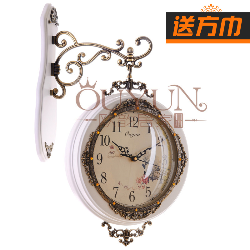 Solid wood rustic fashion clock double faced mute wall clock vintage decoration(China (Mainland))