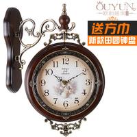 2014 European antique solid wood double wall clock Fashion creative mute wall clock  modern design Large decorative wall clocks