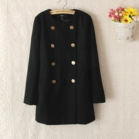 Women's double breasted long o-neck design wool woolen outerwear trench mango0.96kg