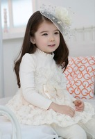 2013 spring kids princess girls lovely baby long-sleeve lace tutu girl dresses chiffon 2color