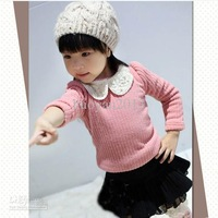 NEW winter kid Beautifull Children Lace collar sweater girl jacket princess cute sweater 5pcs/lot Free shipping