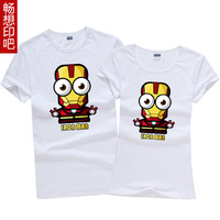 Iron man 3 t-shirt male women's summer lovers personality diy plus size