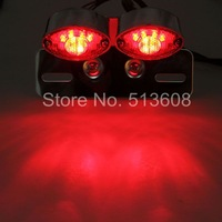Motorcycle Motorbike Tail Light Plating Double Cat Eye LED Brake lights License Plate Light Running Lights Turn Signal Assembly